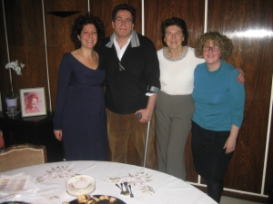 (L-R) JVN Co-Founder and outgoing Chair Susan Winton, new Chair David Lazarus, President Ros Preston and Director Leonie at the Chanukah party.